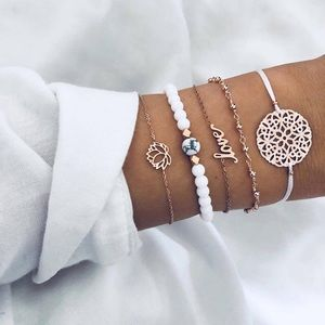Jewelry - 5 Pcs Boho Bracelet Set w/ Lotus Flower & Love